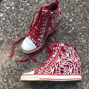 DKNY Red & White Streetwear Wedge Sneakers